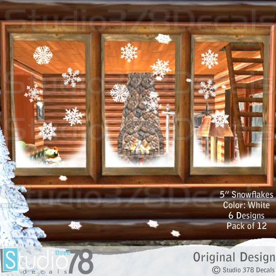 Snowflakes - 5in Window Decals - Christmas Holiday Decorations - Christmas Decor - Winter Vinyl Window Decals - 12 Pack