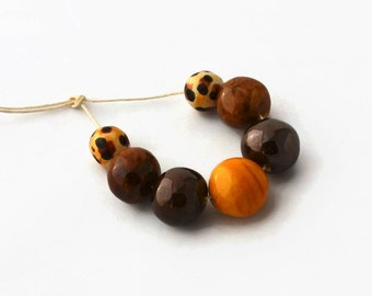 African beads, handmade African beads, ceramic beads, 7 handmade beads, large beads from Africa, clay beads