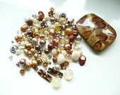 BULK -Swarovski Crystals - MOP Mosaic Pendant -Crystal Copper Connector-Bicone-White Peruvian Opal-Chalcedony Briolette-over 145 beads