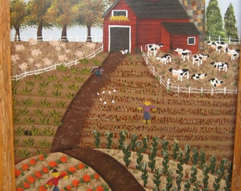 "Acrylic ORIGINAL Naive Painting  8"" x 10""  FALL HARVEST"