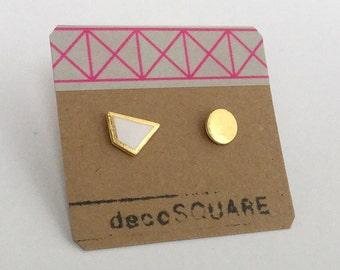 Porcelain asymmetrical stud earrings- white, 24k gold luster geometric post earrings, studs, gift for her, geo studs, porcelain earrings