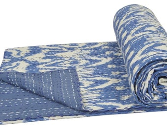 "Cotton Twin Kantha Quilt Gudri Reversible Throw 60""x90"" Ralli Bedspread Bedding India T88"