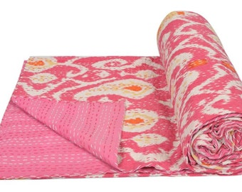 "Cotton Twin Kantha Quilt Gudri Reversible Throw 60""x90"" Ralli Bedspread Bedding India T91"