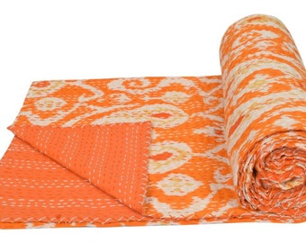"Cotton Twin Kantha Quilt Gudri Reversible Throw 60""x90"" Ralli Bedspread Bedding India T93"