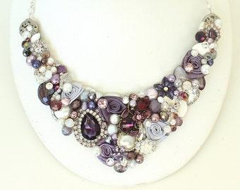 Eggplant Statement Necklace- Deep Purple Bridal Bib- Bridal Statement Necklace- Purple Necklace- Eggplant Necklace-Amethyst Bib-Brass Boheme
