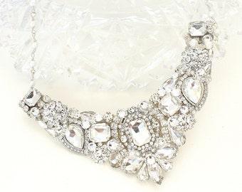 Bridal Statement Necklace- Rhinestone Bib Necklace- Rhinestone Bridal Necklace-Rhinestone Wedding Necklace-Swarovski Necklace-Bridal Jewelry
