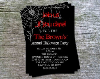 Spooky Spider Web Halloween Party or  Birthday Party Invitation Card - Any Color