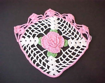 Sweet Vintage Crochet Doily in Ivory and Pink with Pink Rose in Center