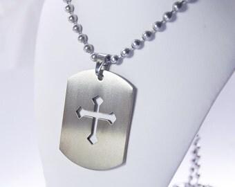 Cross Necklace . Dog Tag Neckwear . Unisex