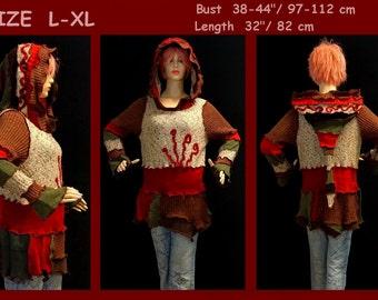 elf sweater, elf coat, size L, size XL, pixie, pullover, fairy coat, jacket, hoodie, hippie, boho, cardigan