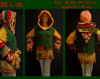Elf sweater, elf coat, size L, size XL, pixie, pullover, fairy coat, jacket, Hoodie, hippie, OOAK, boho, cardigan