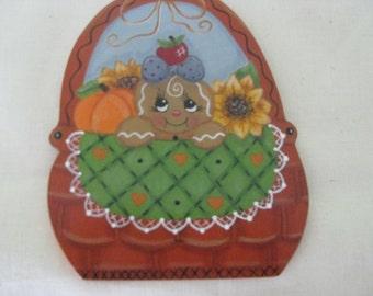 Basket, fall, gingerbread, pumpkin, sunflower, apple, handpainted, magnet, ornament