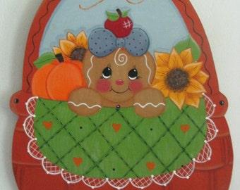 Basket, gingerbread, fall, pumpkin, sunflowers, apple, wall hanging, door decor, handpainted