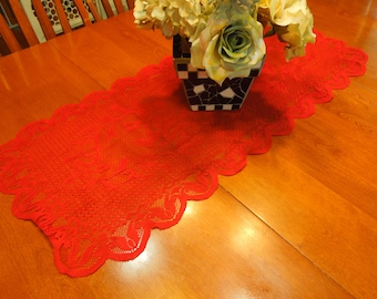 Vintage Red 16 x 34 inch lace table runner for christmas, holiday, housewares, home decor, valentines by MarlenesAttic