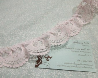 Pink ruffled lace, 1 yard of  1 1/2 inch Pink Ruffled Chantilly Lace trim for wedding, baby, couture, lingerie by MarlenesAttic - Item 8H