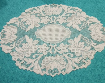 Vintage 16x12 inch Off White Lace Doily for crafts, sewing, housewares, linen, trim, holiday, table by MarlenesAttic