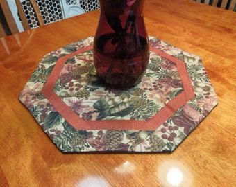 Handmade Round Orange and Green Fall Harvest Leaf table runner for fall, thanksgiving, Autumn, home decor by MarlenesAttic
