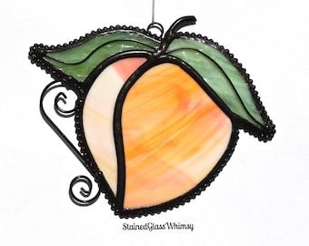 Stained Glass PEACH Suncatcher - Peach with White & Yellow ; Wispy Green Leaves - USA Handmade Original Design