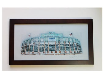 Custom drawing any Football Stadium drawing  NFL Green Bay Packers Art Decor