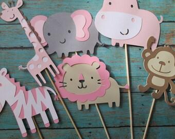 Girl Safari/Zoo Centerpieces - Safari Themed, Zoo Themed, Baby Showers, Birthday Parties, Pink Safari, Its a GIRL