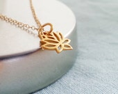 Lotus Necklace. Gold Lotus Flower. Yoga Necklace. Layering Layered Necklace. Gold Filled. Yoga Jewelry. Gift for Her