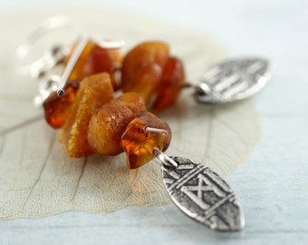 Runes and Raw Amber Earrings - Eco Fine Silver Rune Leaf Drop Earrings on Sterling Silver Hooks.