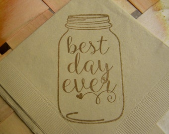 Rustic Wedding Best Day Ever Mason Jar Light Burlap Wedding Cocktail Napkins with Coffee ink - Set of 50