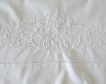 """1900s Edwardian Pillowcase Single White Cotton Antique Hand Embroidered - 19 1/4"""" X 34 1/2"""" - Thistles of Scotland"""