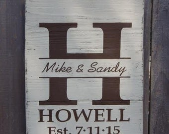 Handmade Custom Wood Signs. Personalized to include Family Name, Last Name, Wedding Date, and Bride and Groom Name.