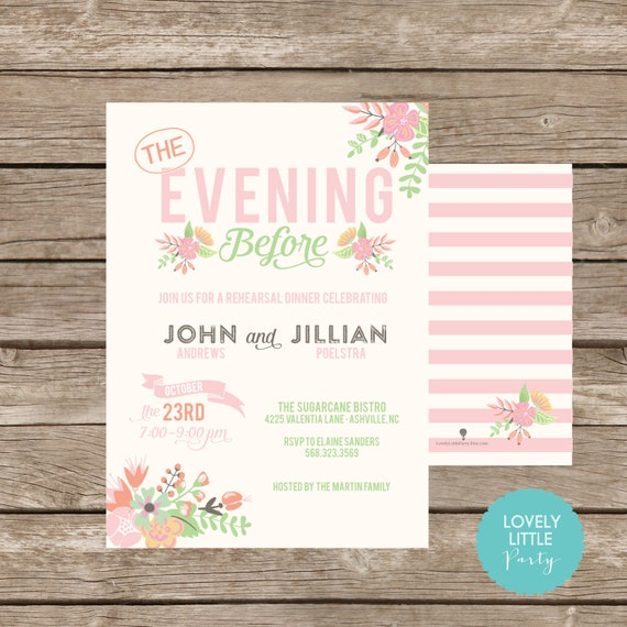 Classically Floral The Night/Evening Before Rehearsal Dinner Invitation DIY Printable -  Lovely Little Party