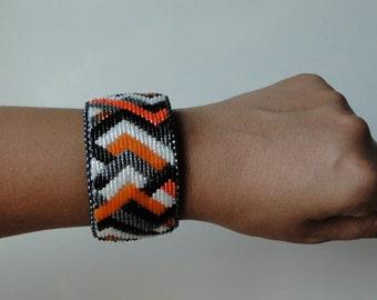 Beaded Slap Bracelet, Basketweave  Design Orange and Black