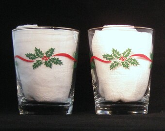 Christmas Double Old Fashion Glasses by Libbey Holly, Berries & Ribbon (Set of Two) 1980s