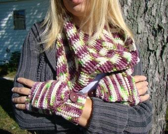 Hand Dyed Scarf Set, Handpainted scarf set, Mitten Scarf Set, Convertible Mitten Set,Barrel Cowl and Mitts,Tunisian Cowl,Convertible Mittens