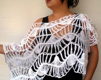 White and Grey Lace Crop Top Shrug Hand Crochet  Bolero  Woman Trendy  Cotton Stole Top  Shrug NEW
