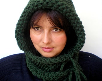 Double Spirit  Knit Hood Super soft Mixed   wool Woman  Hooded Cowl Wood Green Chunky Hoodie