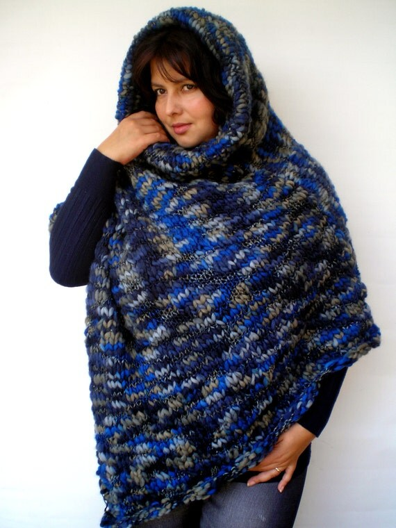 Bulky Blue Hooded Poncho Hand Knit Cape Woman Trendy Asimetrical Merino Wool  Poncho NEW