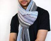 Snuggles - Extra Wide Handmade Crochet Scarf, Striped in Blue and Gray Luxuriously Soft Merino, Extra Long, Unisex