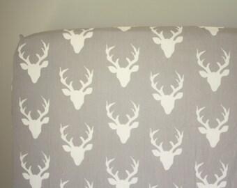 Fitted Crib Sheet: Buck Mount Grey    by JuteBaby