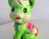 Vintage kitsch neon green Donkey  with hat piggy bank chalkware Japan