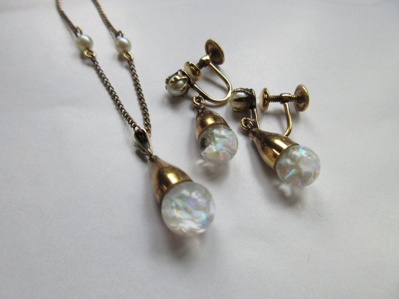 Vintage Floating Opals Set Demi Parure Original Box