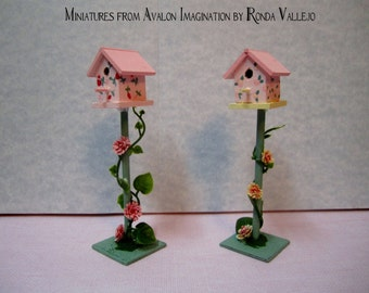 Price REDUCED! Miniature shabby chic bird house on stand in pink and yellow hand painted with climbing roses for decor or miniature garden
