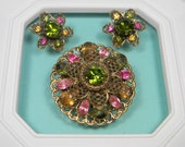 Green and Pink Bold Floral Rhinestone Set, Classic Vintage