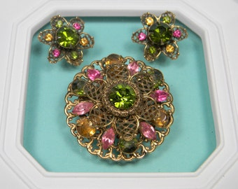 Classic Vintage Green and Pink Bold Floral Rhinestone Set