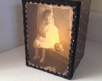 Halloween Light Box Ornament with Vintage photo of child and pumpkin
