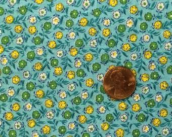 Vintage Blue Calico Cotton Fabric 2/3 Yard
