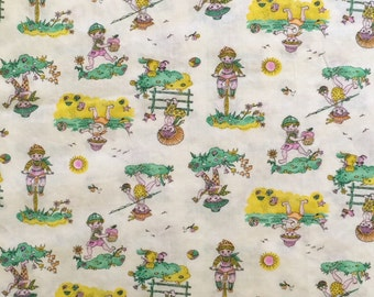Vintage Cotton Blend Fabric Almost 2 Yards / Vintage Kids Print
