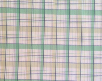 Jersey Knit / Plaid Jersey Knit / Green Plaid Jersey Knit / Green Jersey Knit / Jersey Knit Fabric / 3 Yards