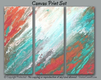 Abstract canvas print set, Multi panel 3 piece wall art Extra Large, Teal gray seafoam taupe, Coral aqua bedroom decor Ready to hang, Office