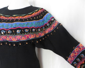 Vintage 80s womens sweater, fancy top, ugly pullover, southwestern clothing