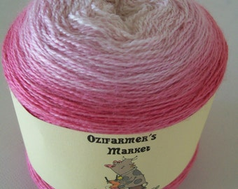 Silky Merino Lace - Gradient dyed merino and silk laceweight yarn. Cherry Blossom